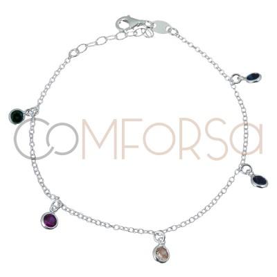 Bracelet zircones couleurs 18 cm argent 925