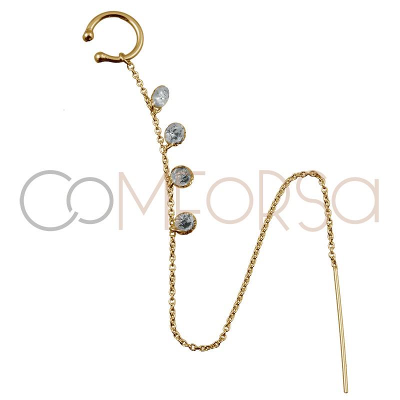 Ear cuff chaîne avec zircônes argent 925 plaqué or