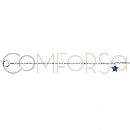Chaîne étoile zircônes multicouleurs 38 cm argent 925 rhodié