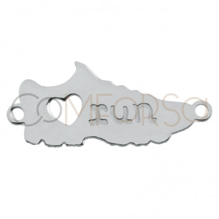 """Intercalaire sportive """"Love Run"""" 17 x 6mm argent plaqué or"""