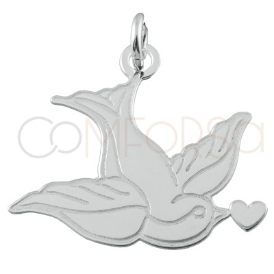 Pendentif colombe 20.5 x 18mm argent 925