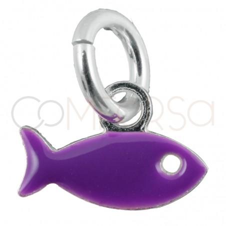 Pendentif poisson violet 8x5mm argent 925 plaqué or