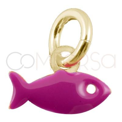 Pendentif poisson fuchsia 8x5mm argent 925 plaqué or