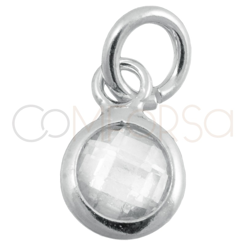 Pendentif mini zircone crystal 4.6mm argent 925