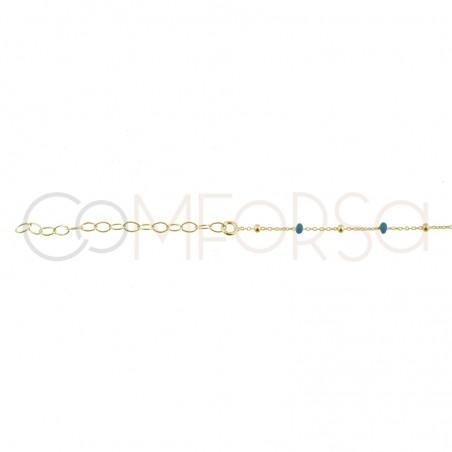 Chaîne avec perles emaillées bleues 40+5cm en argent 925