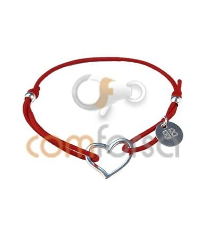 Elastic Bracelet with Sterling Silver 925 Heart (Several Colors)