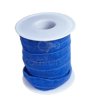 Ruban élastique velours 10 mm bleu