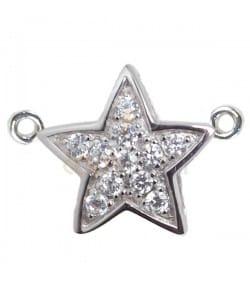 Pendentif étoile double anneau avec zircones
