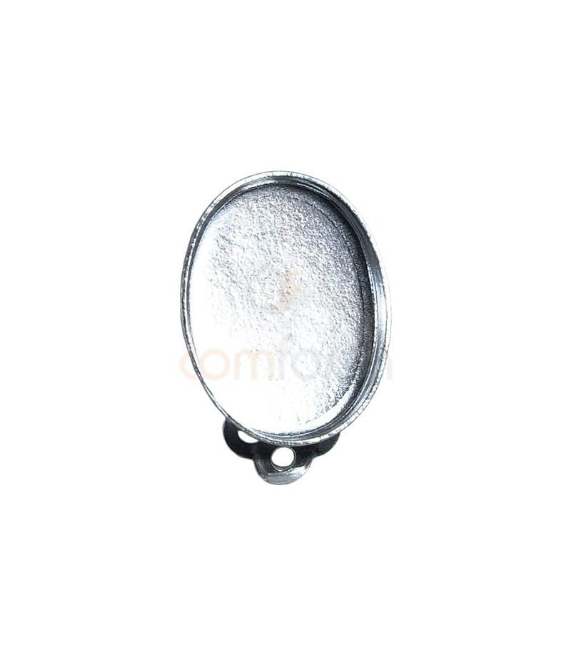 Boucle d´oreille clip  pour cabochon 12x16 mm argent