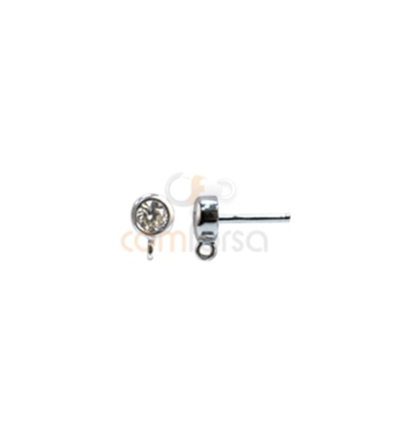Boucle d´oreille zirconite ronde 4 mm avec anneau argent 925