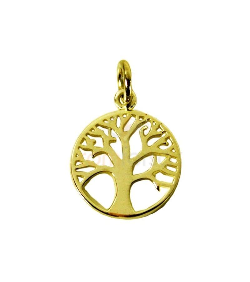 Pendentif arbre de vie 12 mm en Argent 925 doré
